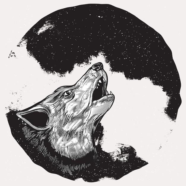 Lobo Aullando En Luna Llena Descargar Vectores Premium
