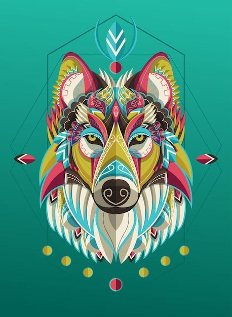 Lobo colorido estilizado retrato Vector Premium