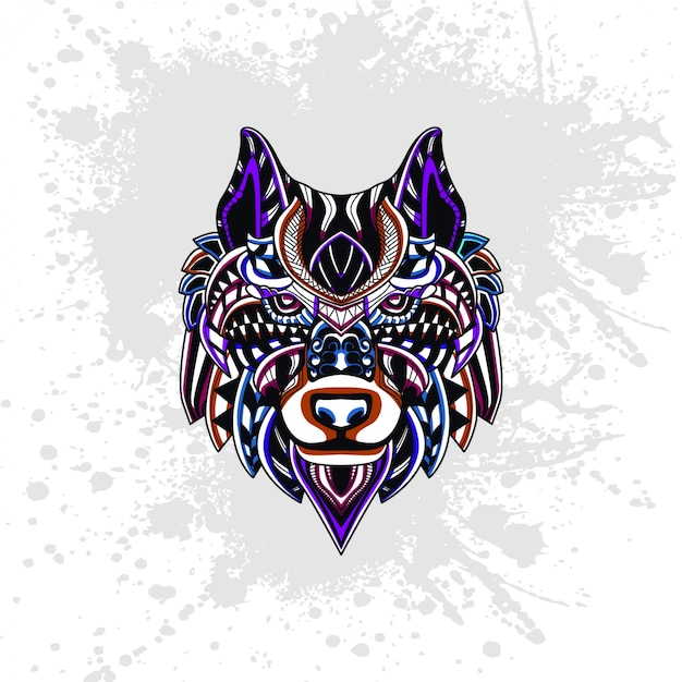 Lobo decorado con formas abstractas. Vector Premium
