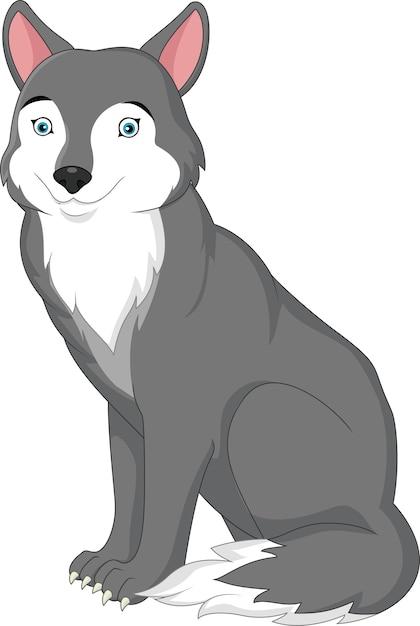 Lobo De Dibujos Animados Aislado Sobre Fondo Blanco Descargar
