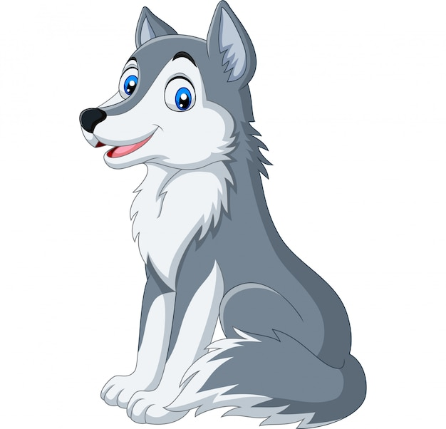 Lobo de dibujos animados sentado sobre fondo blanco Vector Premium