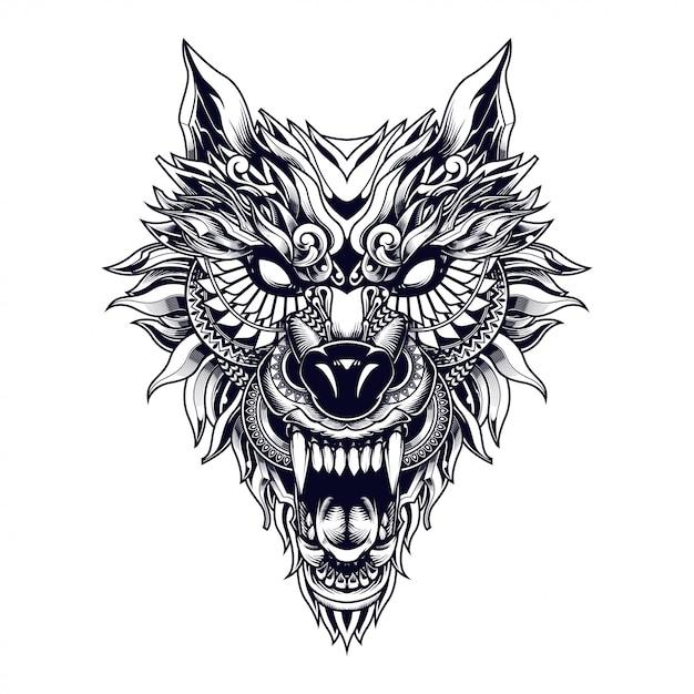 Lobo étnico ilustración y diseño de camiseta Vector Premium
