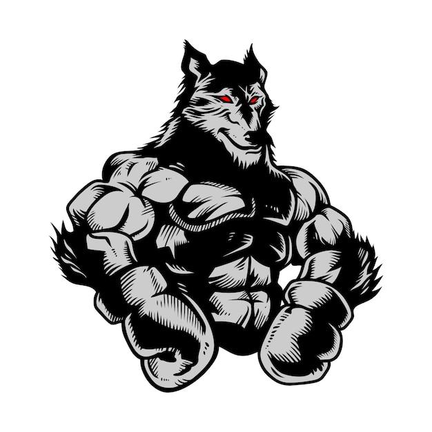 Lobo gimnasio boxeo dibujado a mano Vector Premium
