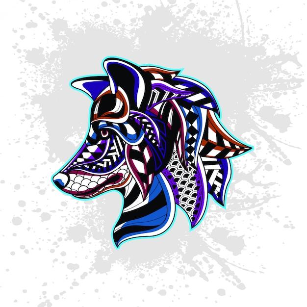 Lobo de patrón decorativo abstracto Vector Premium