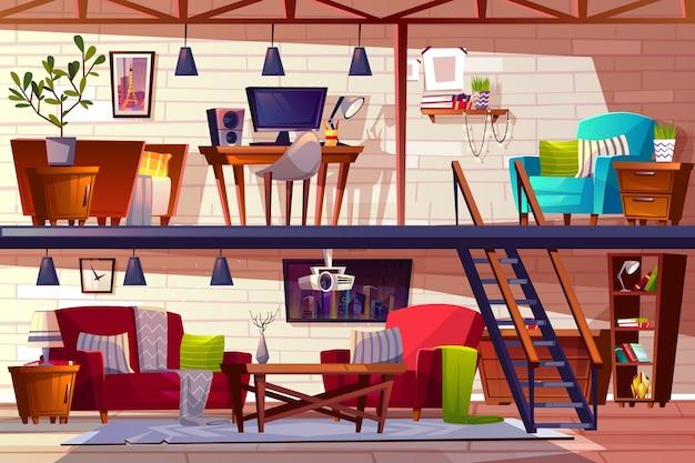 Loft salón ilustración interior de apartamentos de dos pisos, amplios y acogedores apartamentos modernos. vector gratuito