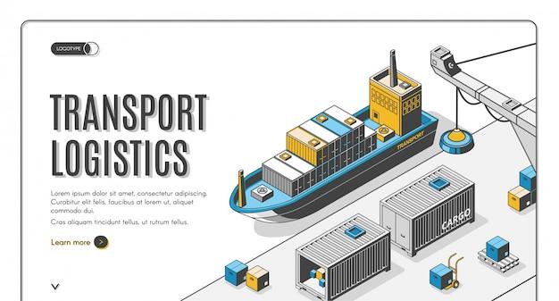 Logística de transporte, empresa de entrega de puerto de barco vector gratuito