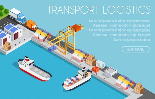 Logística de transporte portuario de carga Vector Premium
