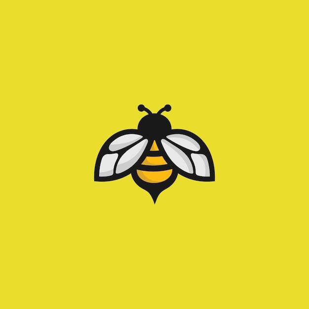 Logo de abeja en amarillo Vector Premium