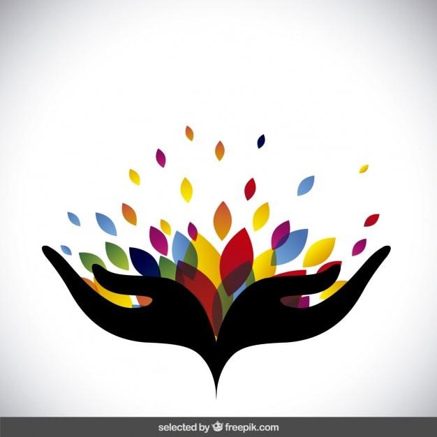 Logo abstracto con hojas de colores vector gratuito