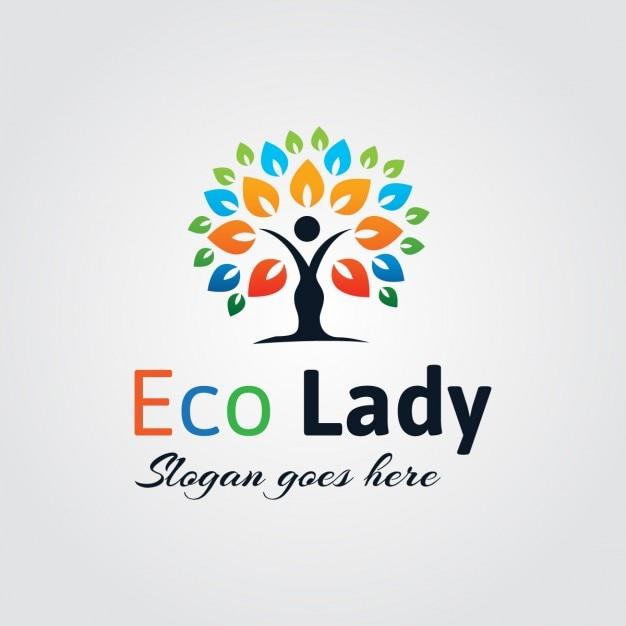 Logo abstracto de señora eco vector gratuito