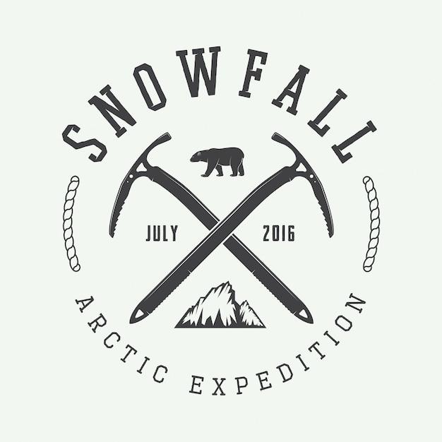 Logo del alpinismo ártico Vector Premium