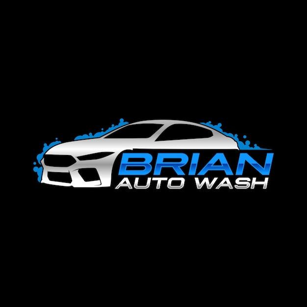 Logo de auto lavado Vector Premium