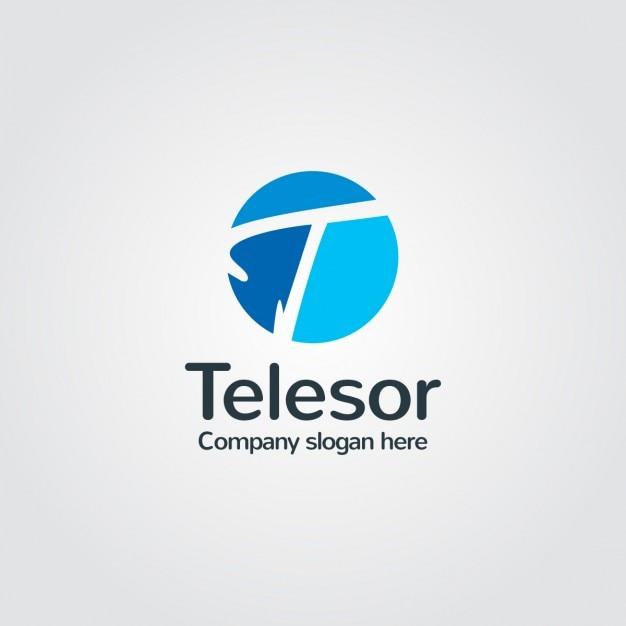 Logo azul de compañía vector gratuito