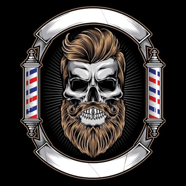 Logo de barbería con calavera Vector Premium