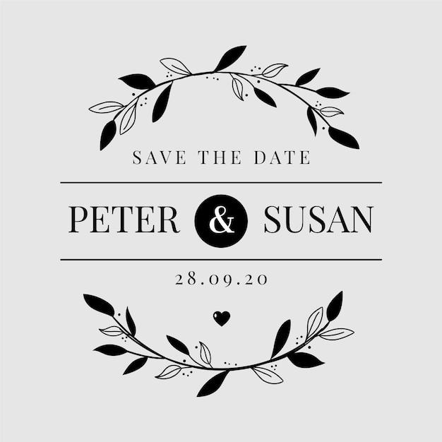 Logo de boda minimalista Vector Premium