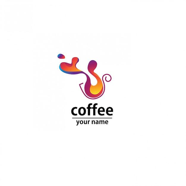 Logo cafe ola abstracto colorido Vector Premium