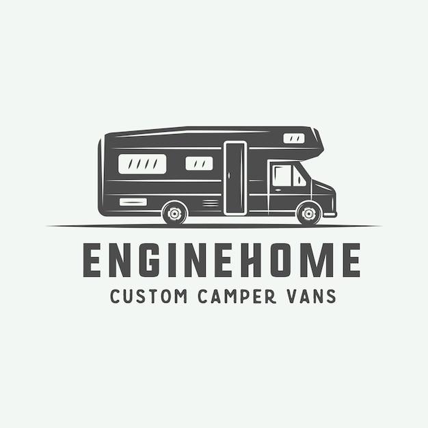 Logo de camping al aire libre Vector Premium