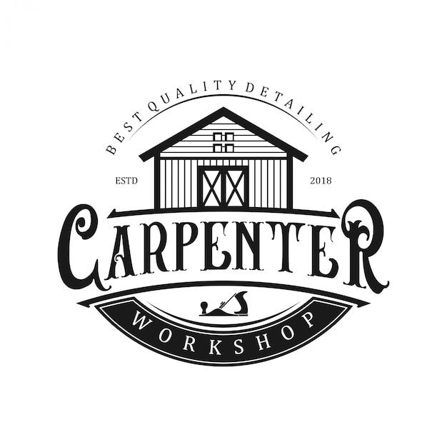 Logo para carpinteros con icono de taller. Vector Premium