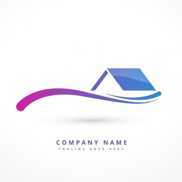 Logo con una casa y una onda vector gratuito