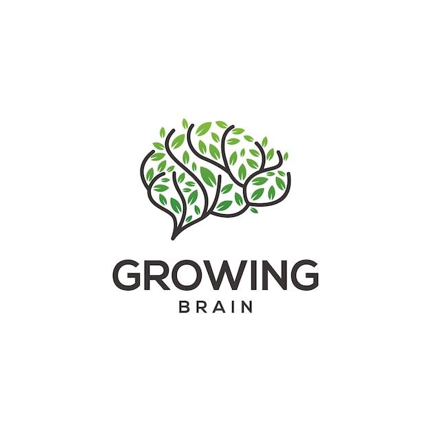 Logo de cerebro creciente Vector Premium