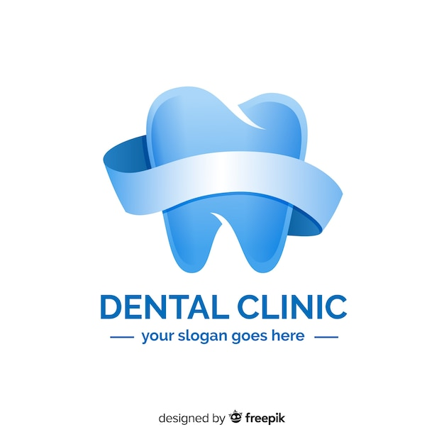 Logo de clínica dental con degradado vector gratuito