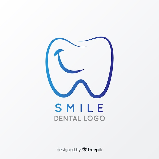 Logo de clínica dental con degradado vector gratuito