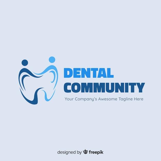 Logo de clínica dental en diseño plano vector gratuito