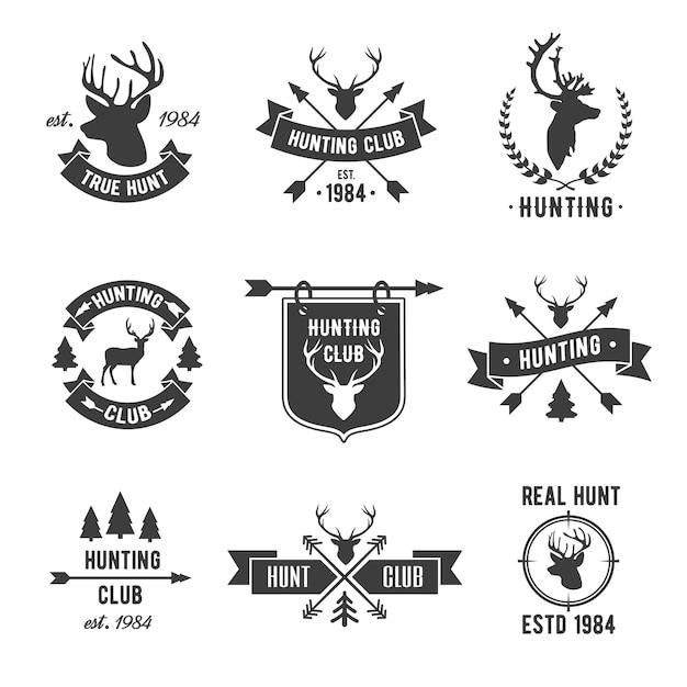 Logo del club cazador establecido. Vector Premium