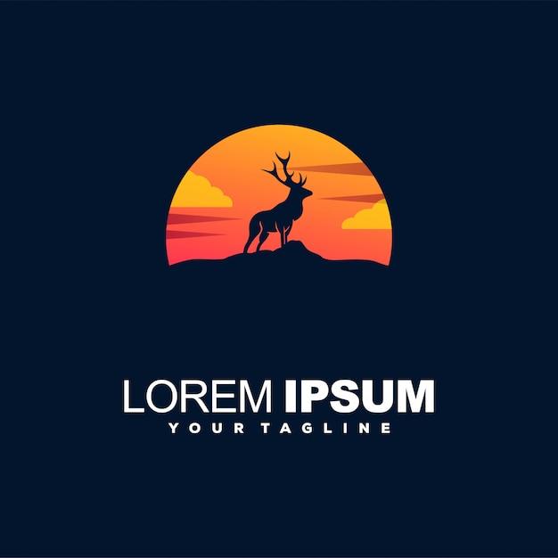 Logo de color degradado al atardecer ciervos Vector Premium