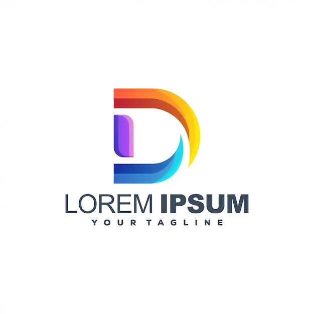 Logo de color degradado de letra d Vector Premium