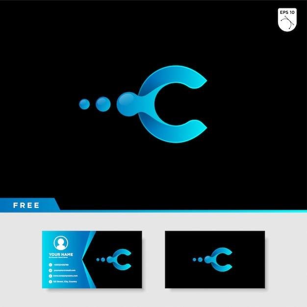 Logo creativo de la letra c con color degradado. Vector Premium