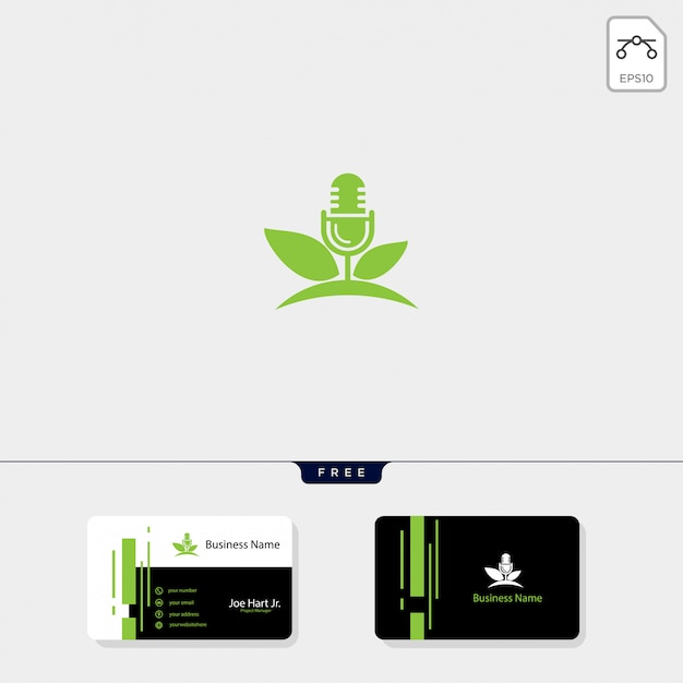Logo creativo de podcast de eco hoja Vector Premium