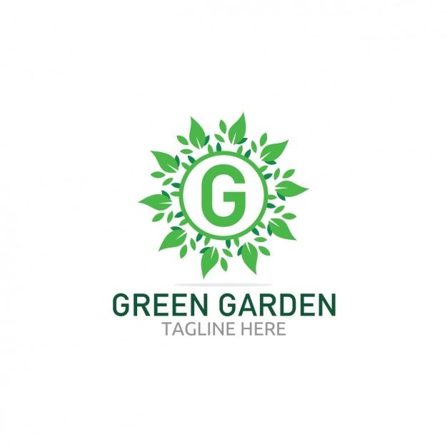 Logo de jard n verde con hojas descargar vectores gratis for Logos de jardines