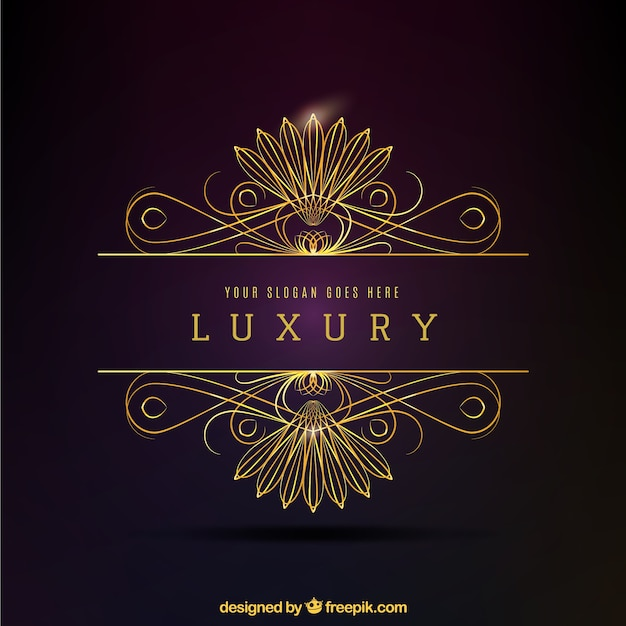 Logo decorativo dorado lujoso Vector Premium