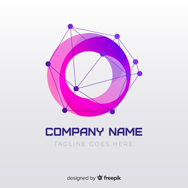 Logo con degradado con forma abstracta Vector Premium
