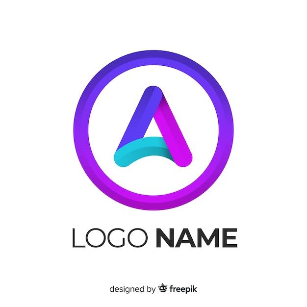 Logo con degradado con forma abstracta vector gratuito