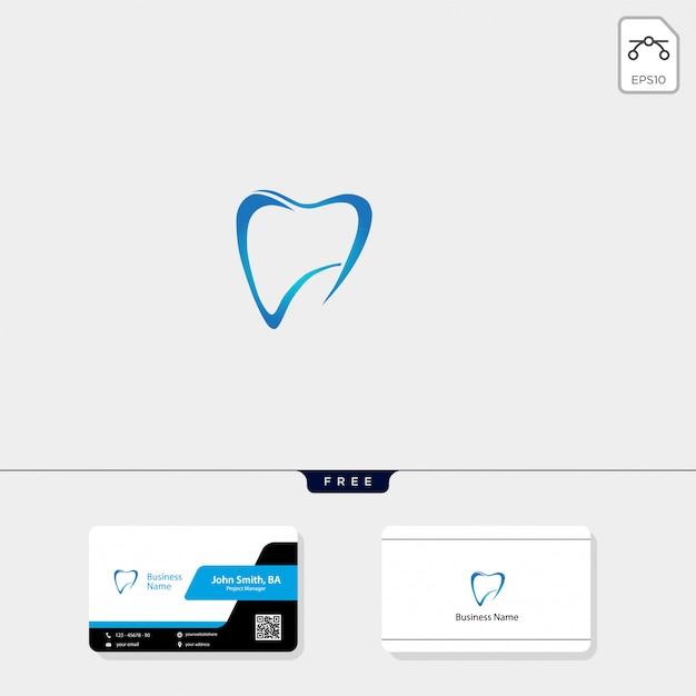 Logo dental y diseño de tarjeta de visita gratis. Vector Premium