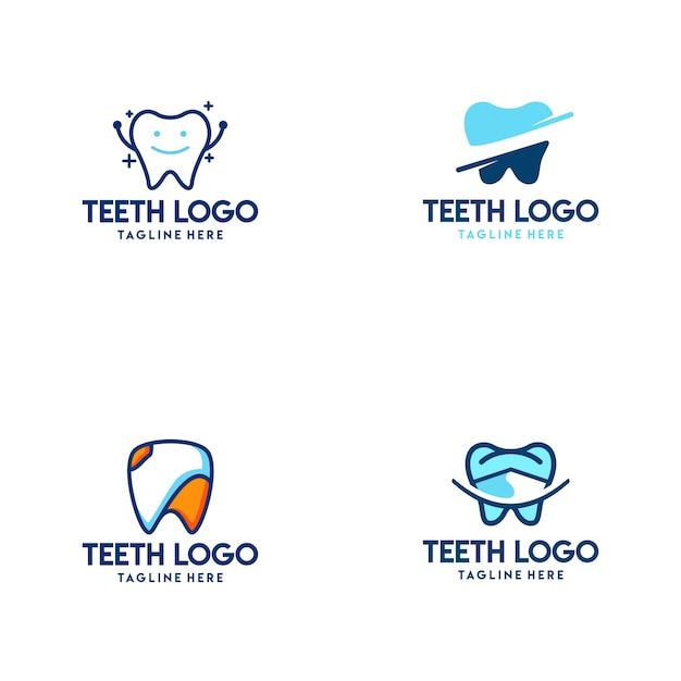 Logo de dientes Vector Premium