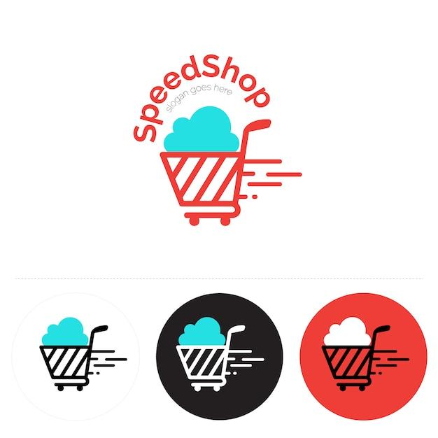 Logo con diseño de carrito de compra vector gratuito