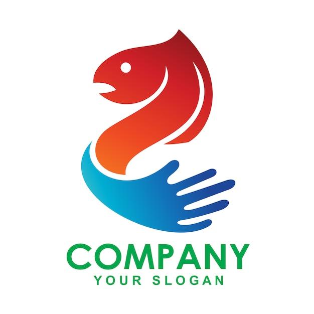 Logo diseño ilustración pescado Vector Premium