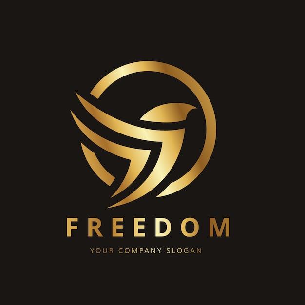 Logo con diseño de pájaro dorado vector gratuito