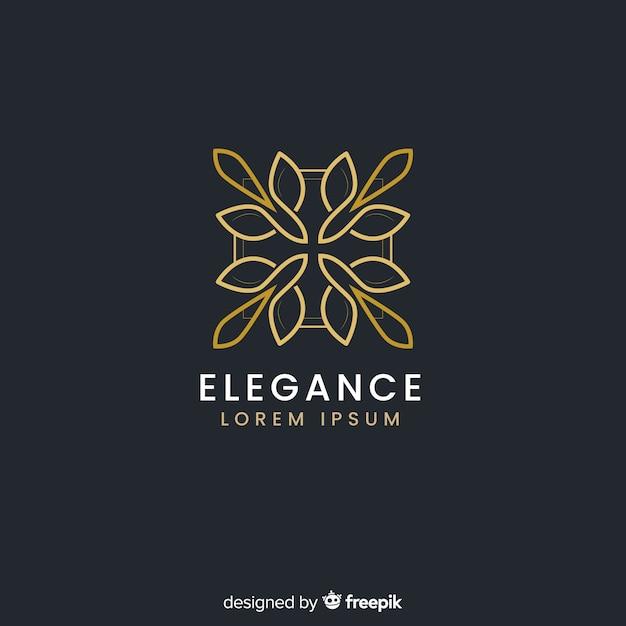 Logo dorado elegante estilo plano vector gratuito