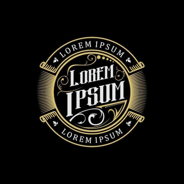 Logo dorado vintage Vector Premium