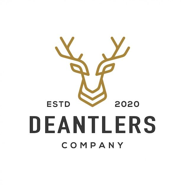Logo e icono de la cornamenta de los ciervos. Vector Premium