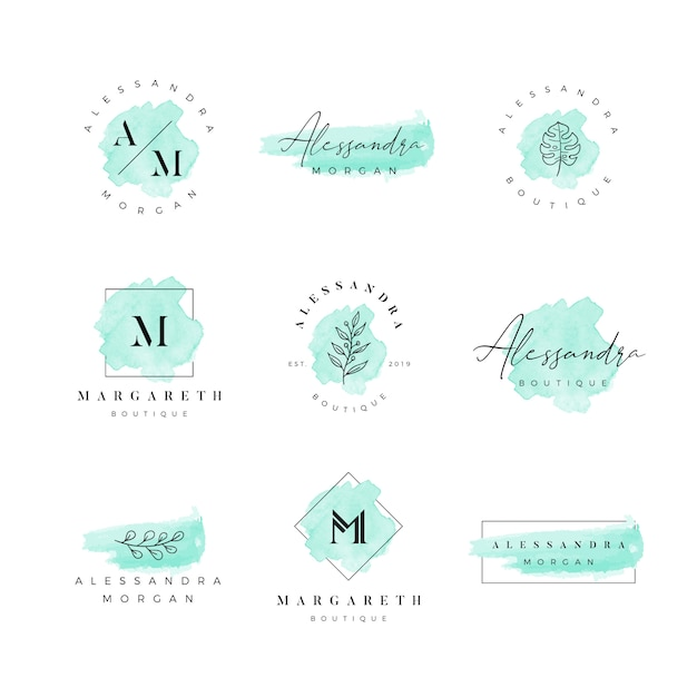 Logo femenino acuarela Vector Premium