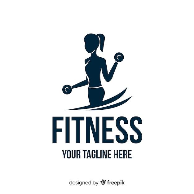 Logo fitness silueta chica diseño plano vector gratuito