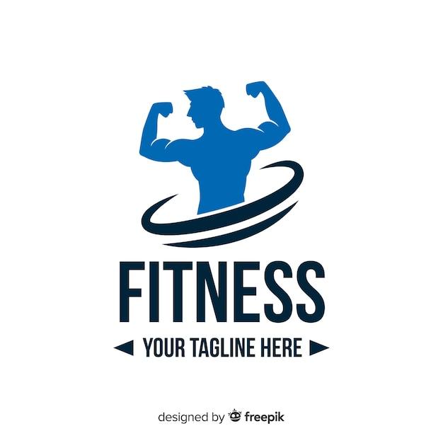 Logo fitness silueta chico diseño plano Vector Premium