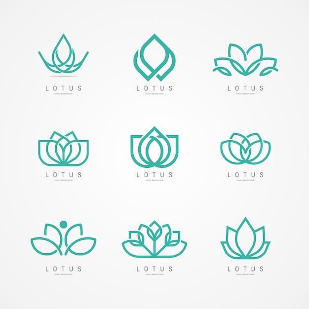 Logo de flor de loto Vector Premium