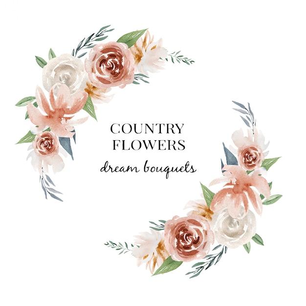 Logo floral acuarela, diseño de tarjetas Vector Premium