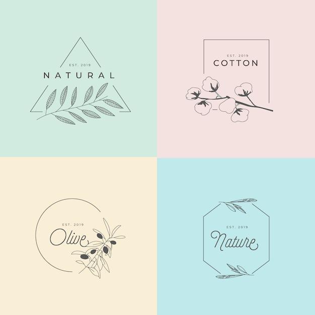 Logo floral dibujado a mano minimalista vector gratuito